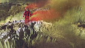 Astronaut walking on surface of planet. Surreal sci-fi concept of the red astronaut walking on surface of planet, digital art style, illustration painting Stock Photo