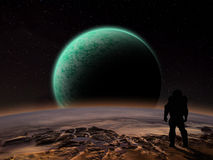 An astronaut watches an alien planet rise. Over a rocky moon. Sci-fi Fantasy artwork Stock Image