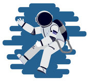 The astronaut waves his hand in weightlessness. Vector illustration Royalty Free Stock Photography