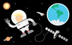 Astronaut. Waving his hand from outer space Stock Photos