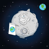 Astronaut whith flag on the moon Royalty Free Stock Photo