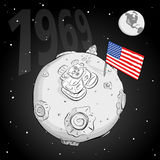 Astronaut whith flag USA on the moon bw Stock Photo