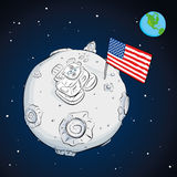 Astronaut whith flag USA on the moon color Royalty Free Stock Images