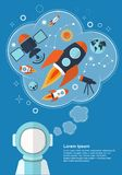 Astronaut who is thinking about rockets, stars and other objects with space for your text. Illustration Stock Photos