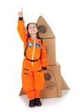 Astronaut: Zich bevindt met Raket, Klaar op te stijgen stock foto