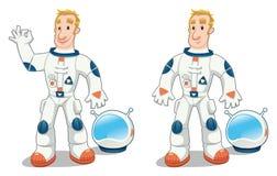 Astronaut in zwei Haltungen. lizenzfreie abbildung