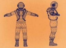 Astronauta - arquitecto retro Blueprint ilustración del vector