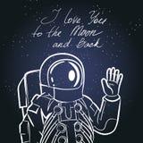 Astronauta, astronauta Tipografia d'annata disegnata a mano illustrazione vettoriale