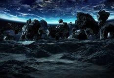 Astronauta bada asteroidy 3D renderingu elementy to i Fotografia Royalty Free
