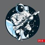Astronauta bawić się gitarę elektryczną w przestrzeni Astronautyczna turystyczna Wektorowa ilustracja ilustracji