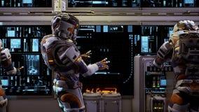 Astronauta blisko deski rozdzielczej statek kosmiczny Super realistyczny pojęcie Loopable zdjęcie wideo