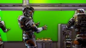 Astronauta blisko deski rozdzielczej z zieleń ekranem statek kosmiczny Super realistyczny pojęcie Loopable zbiory