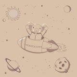 Astronauta bonito do elefante no espaço ilustração royalty free