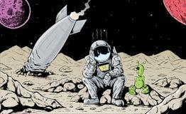 Astronauta causado un crash Fotografía de archivo libre de regalías