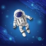 Astronauta chłopiec aimlessly lot kosmiczny ilustracja wektor
