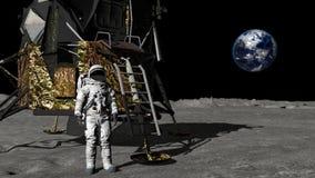 Astronauta che cammina sulla luna e che ondeggia la sua mano Alcuni elementi di questo video ammobiliato dalla NASA illustrazione vettoriale