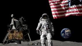 Astronauta che cammina sulla luna e che saluta la bandiera americana illustrazione vettoriale