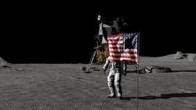 Astronauta che cammina sulla luna e che saluta la bandiera americana Animazione di CG Alcuni elementi di questo video ammobiliato illustrazione vettoriale