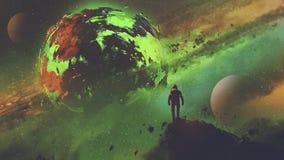 Astronauta che esamina il pianeta acido illustrazione vettoriale
