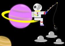 Astronauta che pesca UFO Fotografie Stock