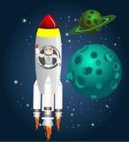 Astronauta che si siede sul volo del razzo nello spazio Immagine Stock