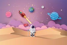 Astronauta con la bandera en la luna stock de ilustración