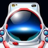 Astronauta con la reflexión del planeta ilustración del vector