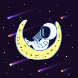 Astronauta con un teléfono móvil en espacio en la luna libre illustration