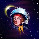 Astronauta da mulher no espaço Imagens de Stock Royalty Free