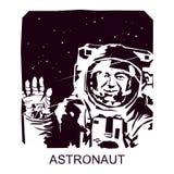 Astronauta da silhueta no espaço aberto ilustração stock