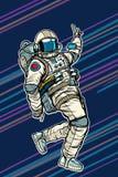 Astronauta dancingowa dyskoteka śmieszna ilustracja wektor