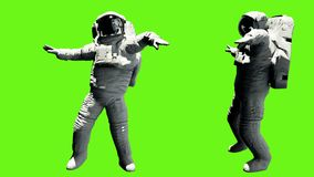 Astronauta dancingowy hip hop Loopable animacja na zieleń ekranie 4K ilustracji