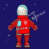 Astronauta de la historieta en espacio exterior Imágenes de archivo libres de regalías