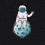 Astronauta de la historieta que se sienta en agitar de la luna Espacio exterior y estrellas en el fondo ilustración del vector