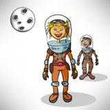 Astronauta de la muchacha de la historieta Fotos de archivo
