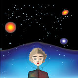 Astronauta de la muchacha en el espacio Ilustración del Vector