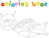 Astronauta del dragón de la historieta Libro de colorear para los niños stock de ilustración