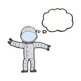 astronauta del fumetto con la bolla di pensiero Fotografie Stock Libere da Diritti