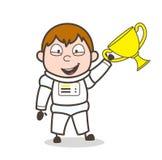 Astronauta del ganador de la historieta con el ejemplo del vector del trofeo ilustración del vector