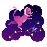 Astronauta del gatto dello spazio che cammina sulle stelle illustrazione vettoriale