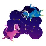 Astronauta del gatto dello spazio che cammina sulle stelle illustrazione di stock