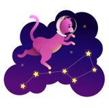 Astronauta del gatto dello spazio che cammina sulle stelle royalty illustrazione gratis