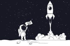Astronauta del ingenio del lanzamiento de Rocket stock de ilustración