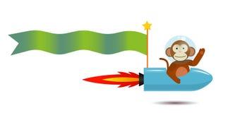 Astronauta del mono con la bandera del texto Imagen de archivo libre de regalías