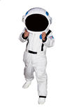 Astronauta del niño pequeño aislado en el fondo blanco Imagen de archivo libre de regalías