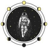 astronauta dell'astronauta Pianeti di fasi lunari in sistema solare spazio astronomico della galassia il cosmonauta esplora l'avv illustrazione di stock