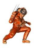 astronauta della rappresentazione 3D su bianco Fotografia Stock