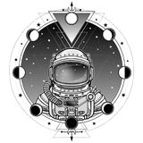 Astronauta di animazione in una tuta spaziale Un fondo - il cielo della stella di notte, fasi della luna royalty illustrazione gratis