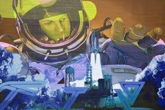Astronauta di arte della via Immagine Stock