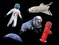 Astronauta divertido del perro del paseo del espacio, lanzadera fotos de archivo libres de regalías